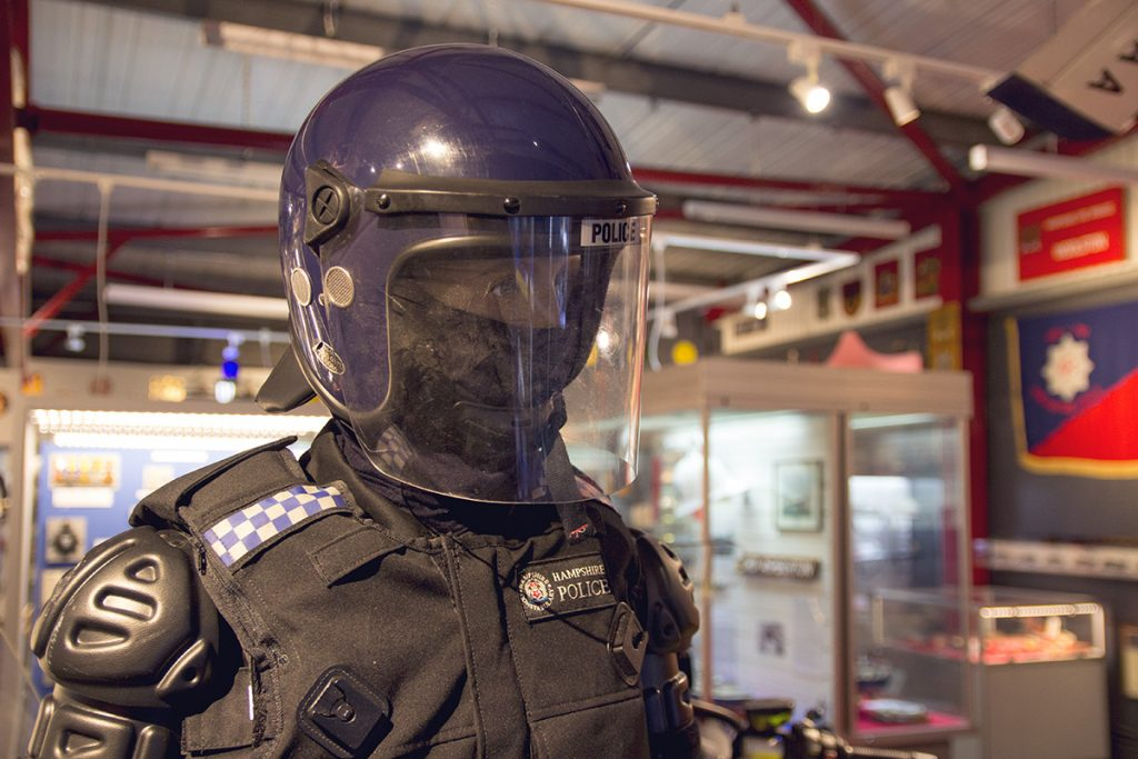 Hampshire Police riot uniform exhibit - Hampshire Police and Fire Heritage Trust Collection